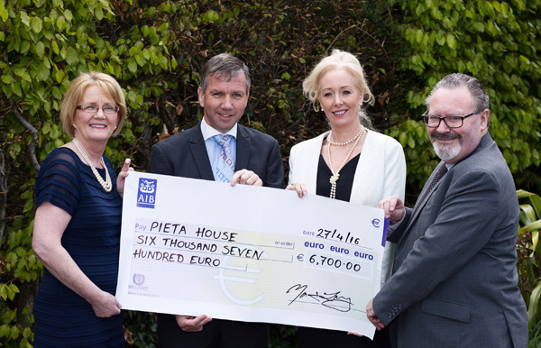 CIF Cheque Presentation to Pieta House, Lucan Pictured: L-R Marie Peelo, Deputy Director of Funding and Advocacy, John O'Shaughnessy President MBCA, Cindy O'Connor, Chief Clinical Officer Pieta House and Martin Lang, Director CIF Mandatory Credit: 1IMAGE/Bryan Brophy 1IMAGE PHOTOGRAPHY Studio: +353 1 493 9947 / Mob: +353 87 246 9221 1image.ie